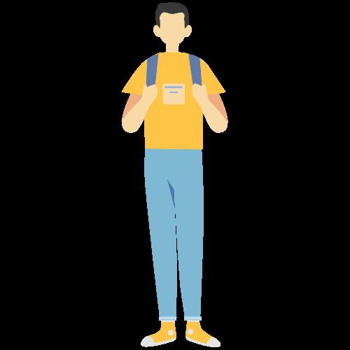 黄色い服を着た学生